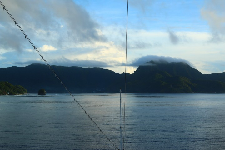 Approaching Pago Pago around the reef