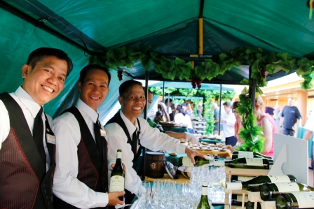 A wine stall and beverage staff