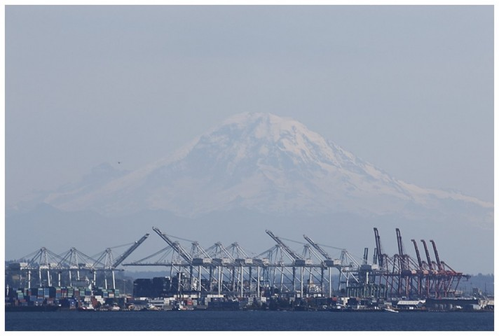 Mount Ranier towers over Seattle