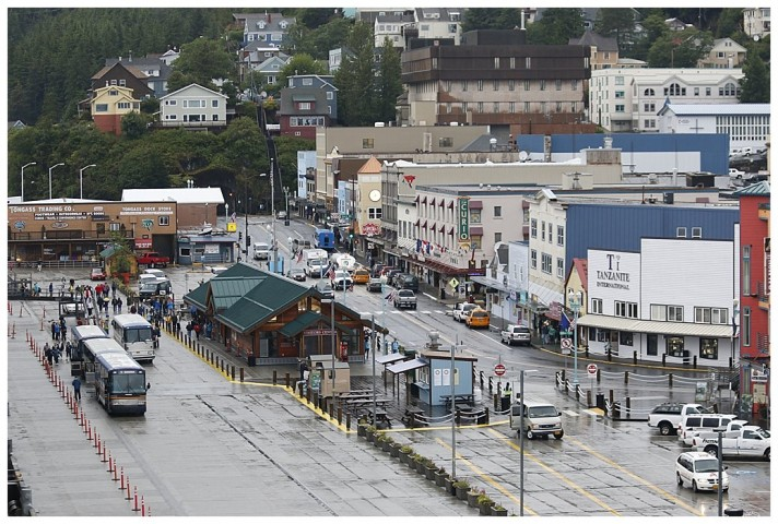 the View from the Bridge, Main Street, with the dock to the left.