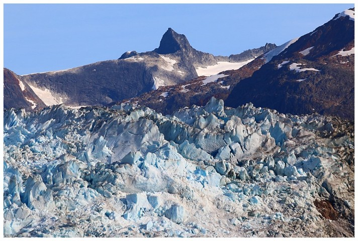 Jagged peaks and crevasses of the Sawyer glacier