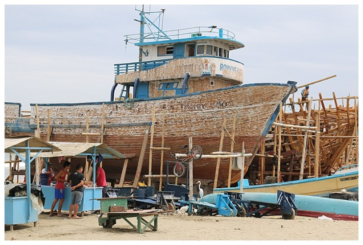 Boat building on the beach