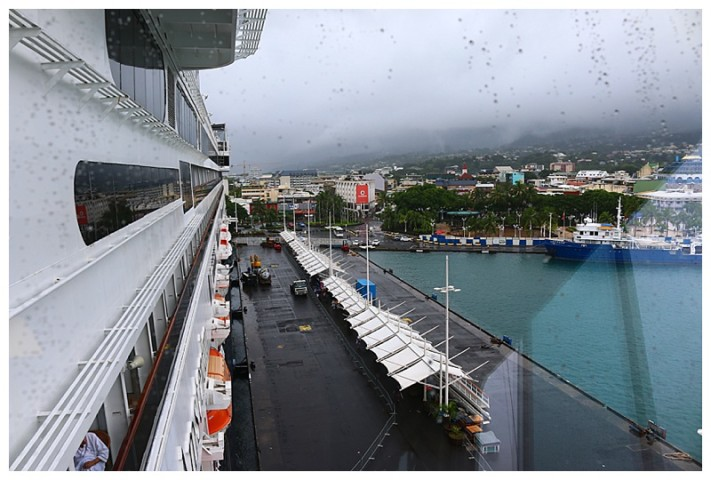 A wet morning; the pier and passenger walkway