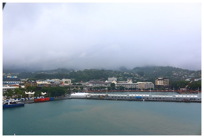 The other cruise ships have departed and now we have a view of Papeete itself.