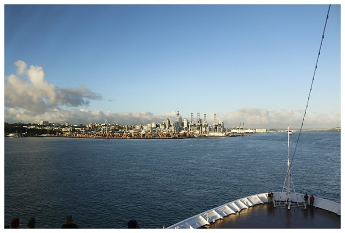 After navigating the channel, we near the berth