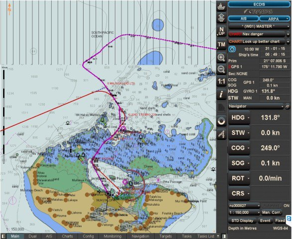 "Screenshot of arrival. Our track is magenta colour.  Coming in from the north, we 'kill' time before turning to the south-east onto the first approach line.  We alter to the south briefly, this to avoid the outbound ""Seven Seas Mariner"" and then turn to the south-west, over the reef, (or shallow section), thence into the deeper lagoon and the berth."