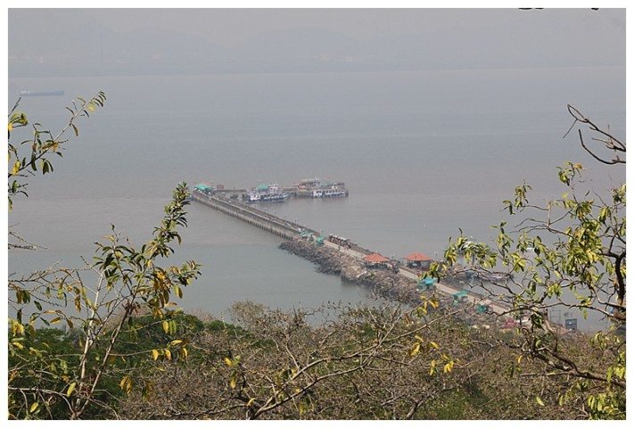 The view from the top of the hill, (where the caves are), looking down to the ferries and pier