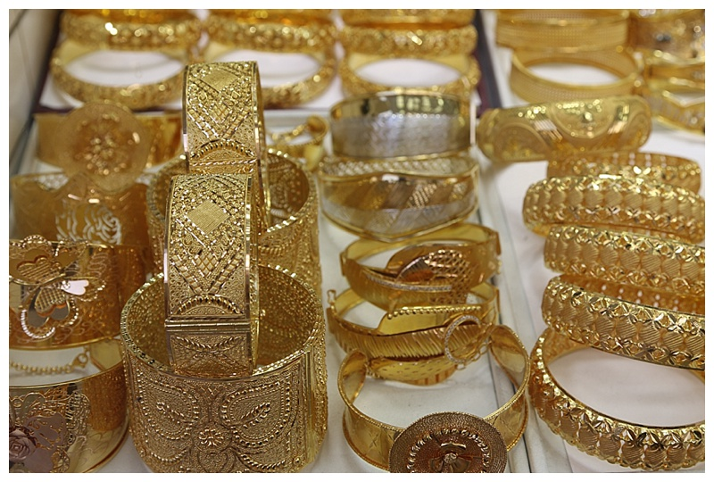 Bejeweled bands of solid gold