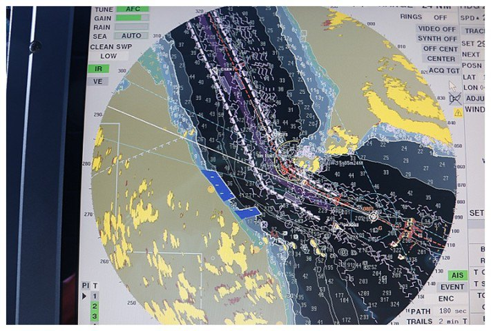 The radar picture, approaching the Straits