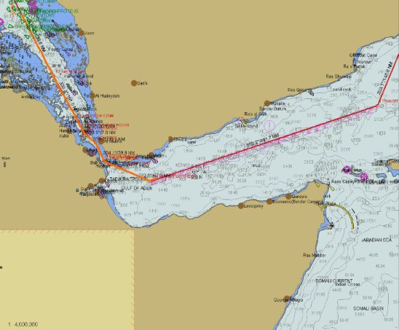 A smaller scale, showing tracks from Salalah to the Red Sea