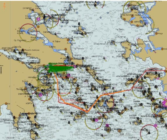 Our route across the Aegean, passing south of islands for shelter, or 'running' with the weather'.  Certainly not the most direct, but definitely the safest and most comfortable