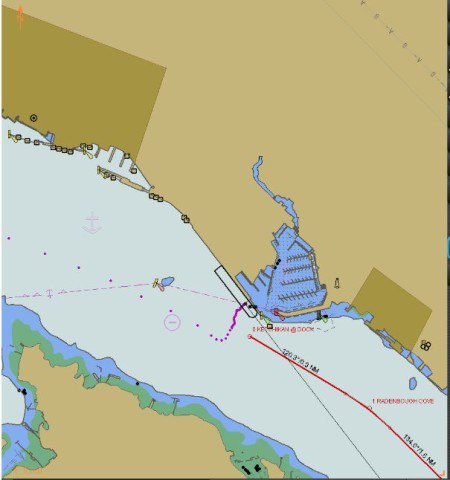 'Normal' approach is to head straight for the berth. In this case, I passed the shoal patch and then 'walked' her across. (Track is the dotted purple)