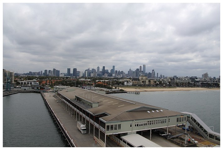 Looking north (and astern), the skyline of Melbourne