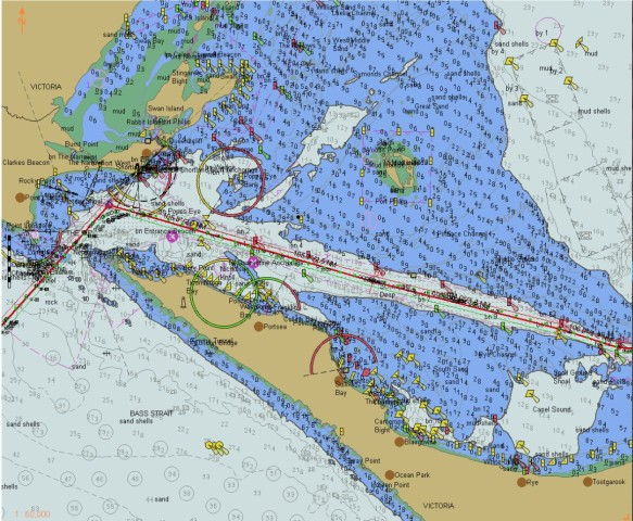 The approach into the 'Rip' and, once complete, the turn to starboard into the buoyed channel