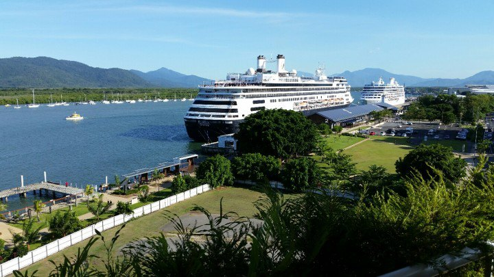 Berthed in Cairns. (Photo courtesy of Gerald Bernhoft, Director Mariners Society, from his hotel balcony)