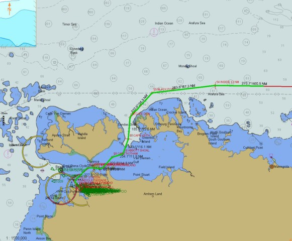 Our route between the islands and reefs