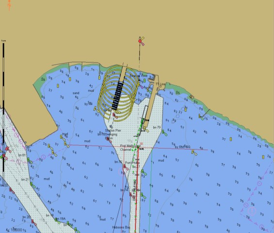 The dock, the green dots are (timed) positions of the ship, the 'wheelie to the south of the dock