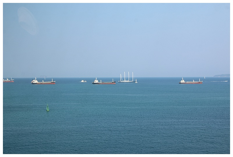 On our port side, vessels at anchor