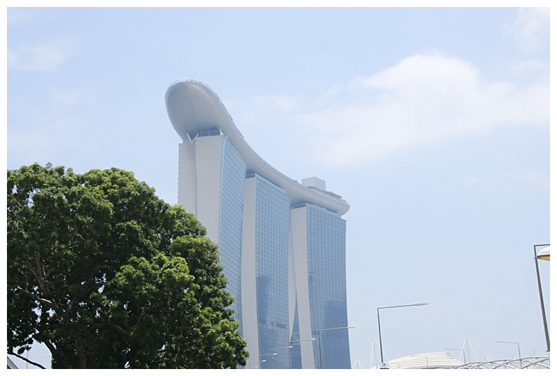 Passing the Marina Bay Sands hotel. For those of you who aren't aware, from a distance it resembles a cruise ship in the sky