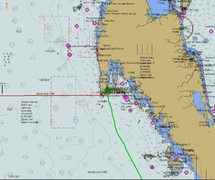 An overview of the Gulf of Thailand; our route towards Phuket, (green) on the peninsular.