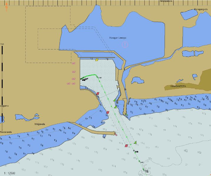 An electronic chart view of the harbour. Even this is out-of-date though; the 'light blue' to the north is already basins and berths.