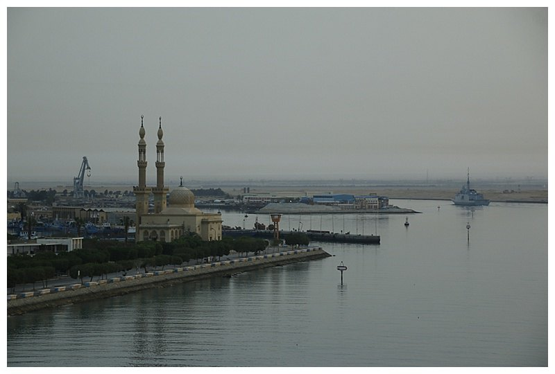 "Suez and its attractive mosque, the ""Provence"" ahead"