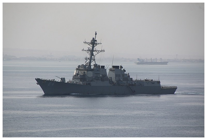 An Arleigh-Burke class destroyer leads the southbound convoy, on her way to the Red Sea and beyond?