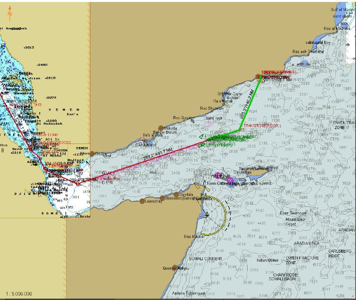 Our route, from Salalah to the RTC and thence through the Bab-El-Mandeb and the Red Sea