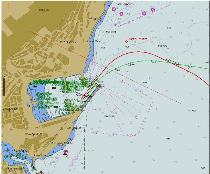 ...and the track into the berth.  The green triangles are the transponders of the yachts.