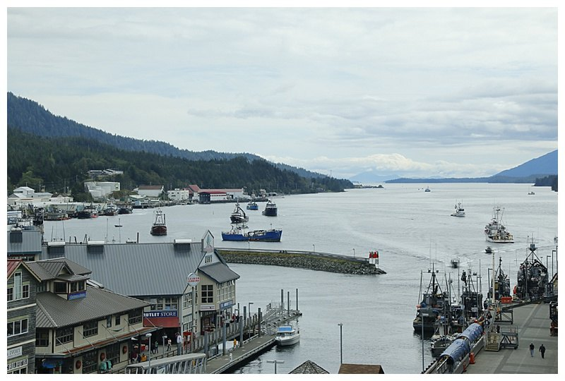 Aview of the Tongass Narrows, looking south; the fishing fleet waiting off the Cannery, to unload their salmon.